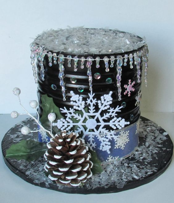 Snowman hat i made from an altered coffee can christmas - What are coffee cans made of ...