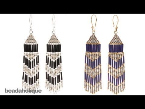 http://www.beadaholique.com/yt - In this video, learn how to bead weave classic Native American style earrings in brick stitch with fringe using bugle beads and seed beads.    Designer: Megan Milliken    Fringe Festival Earrings  Project E1046  http://www.beadaholique.com/t-ba-project-E1046.aspx?utm_source=YouTube_medium=social-media_campaign=...