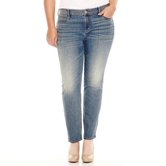Arizona Super Skinny Jeans - Juniors Plus ($28) ❤ liked on ...