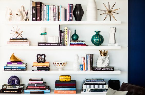 Shelf styling | Corri McFadden | theglitterguide.com: Bookshelf Styling, Bookshelves Style, White Bookshelves, Shelf Decoration, Shelf Style, Bookcase Styling, Bookcase Idea, Shelving Idea