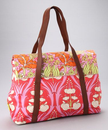 Tangerine Passion Lily Harmony Organic Laptop Bag by Amy Butler
