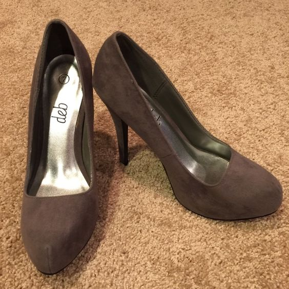 "Deb Gray Heels Great condition! Never worn. Heel: 4 1/2""   Platform: 1"" Deb Shoes Heels"