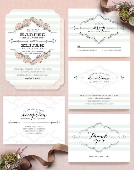 Striped Sweet Nothings whimical Wedding Invitation by Footed Design  @minted