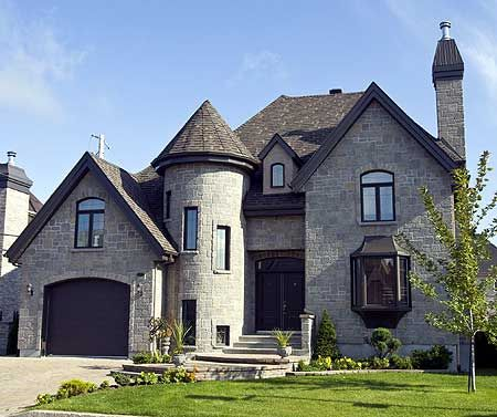 Plan 9042pd dramatic stone tower bonus rooms modern castle and house - The house with protruding windows ...