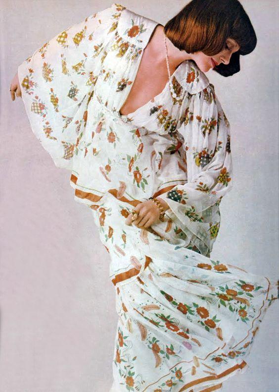 Susan Moncur wearing Ossie Clark by David Montgomery Vogue UK 1970s