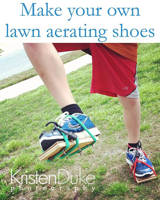 Make your own lawn aerating shoes...you will need 1/2 inch plywood cut to 3.5 X 7 inch size (qty 2), 1 inch nails (qty 8) and rope or bungee cord. To make sure the nails won't back out of the wood,fasten 1/8 inch particle board as a layer over the back of the nailheads and screw it in. Get to walking around in your yard.