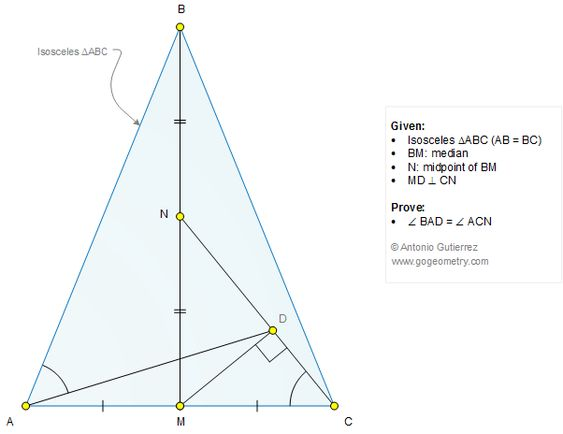 Geometry Problem 1272 Isosceles Triangle Median Midpoint – Isosceles Triangle Theorem Worksheet