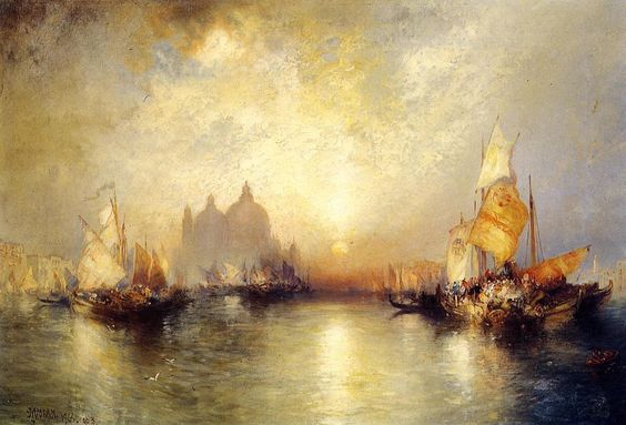 """Entrance to the Grand Canal, Venice"" by Thomas Moran  I love the light on the water and the colors used in this painting."