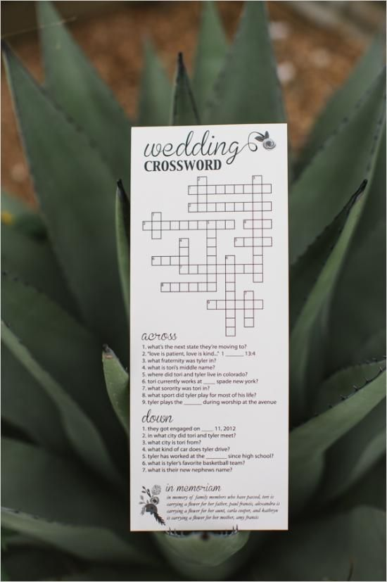 a wedding crossword puzzle for your guests.