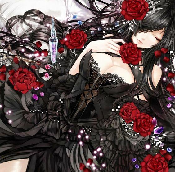 anime girl art illustration dark: