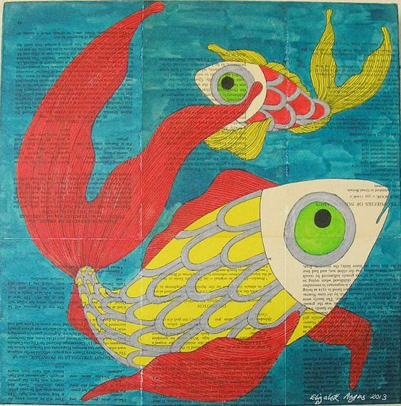 fish wall art, sea life wall art, fishes wall art, fish art, sea life art, fishes art, fish mixed media, sea life mixed media, fishes mixed by ElizabethAngusArt on Etsy