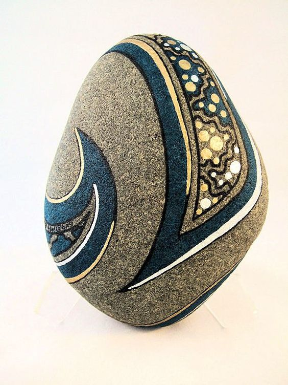 3D Original Art Painted Rock Signed Turquoise Gold by IshiGallery