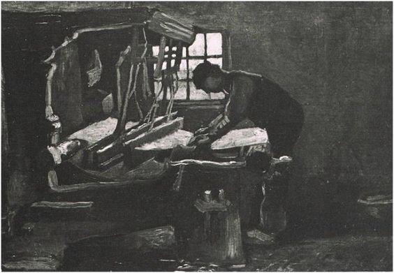 Tejedor arreglando fibras  Vincent van Gogh Pinturas, Óleo sobre tela sobre hoja Nuenen: abril - mayo, 1884 Museo Kröller-Müller Otterlo, Los Países Bajos, Europa F: 35, JH: 478