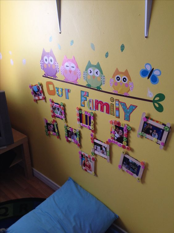 Family Photos Wall At Daycare So The Kids Can See Their