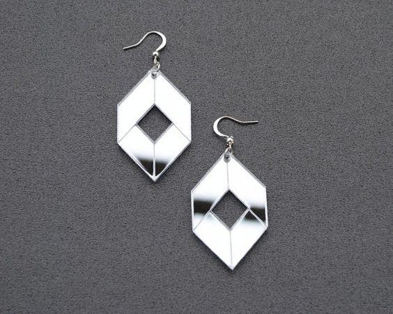 Mirror earrings mirror acrylic earrings cube by elfinadesign