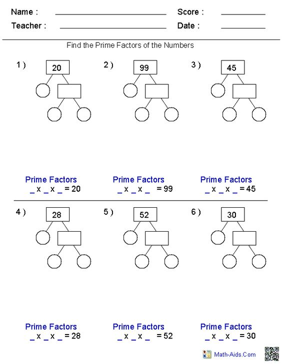 Prime Factorization Trees Factors Worksheets – Factors Worksheets
