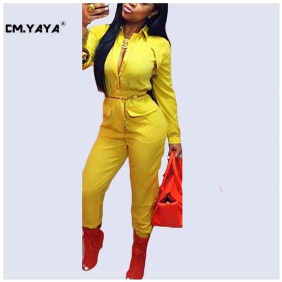 CMYAYA 2016 New Women Casual Spring Yellow Full Sleeve Square Collar Pockets Jumpsuit at our web shop http://www.aliexpress.com/store/536244