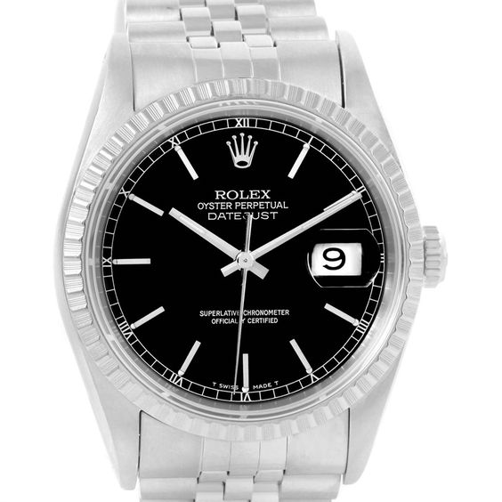 Rolex Datejust Stainless Steel Black Baton Dial Mens Watch 16220