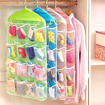 16 Pockets Closet Door Home Wall Hanging Organizer Storage Stuff Bag Pouch New Almacenamiento Para Ropa Interior Organizador De Tela Organizador De Ropa Interior