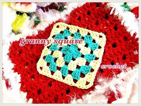 2色で編む四角モチーフ(グラニースクエア)の編み方☆How to crochet a granny square☆ - YouTube