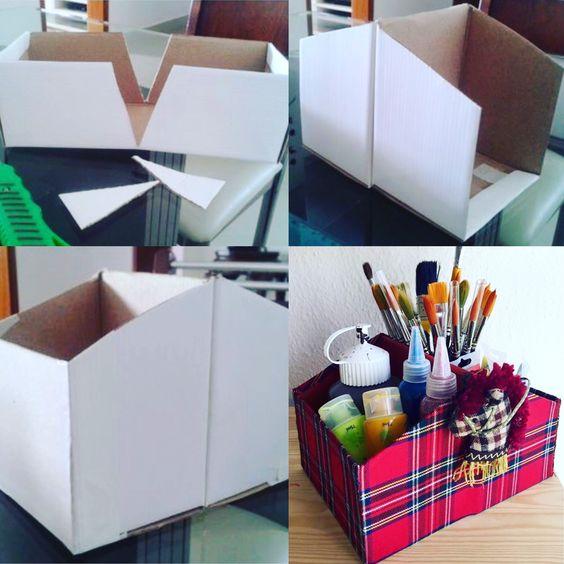 Voici l'organisateur de bureau réalité avec une boîte à chaussures en carton! Donne une nouvelle vie grâce au bricolage créatif! #recycled #recyclage #atelier #bricolage #handmade #suisse #geneva #cartigny