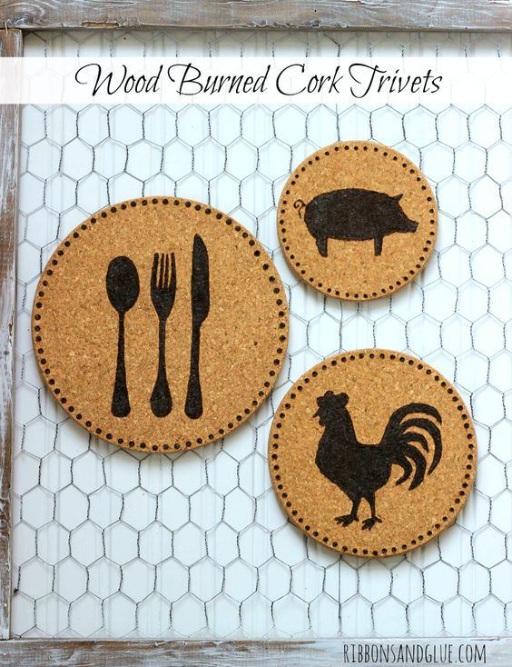 DIY Wood Burned Cork Trivets made from cork trivets with burned images using a wood burning burning tool.Easy DIY farmhouse kitchen decor project