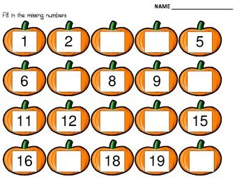 Worksheets Missing Number Worksheets 1-20 free worksheets missing number 1 20 printable fall pumpkin numbers october pinterest pumpkins