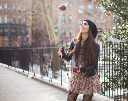 slouchy hats, lacy nylons, dresses with jackets, fun character.