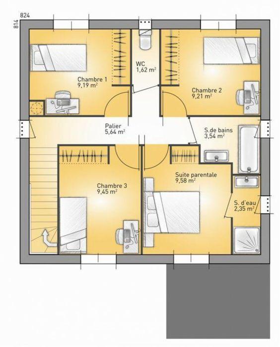 plan maison neuve construire maisons france confort patrimonia 93 e maison tage. Black Bedroom Furniture Sets. Home Design Ideas