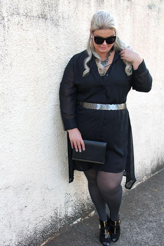 vestido preto transparente plus size 8 - moda plus size - julia plus - grandes mulheres