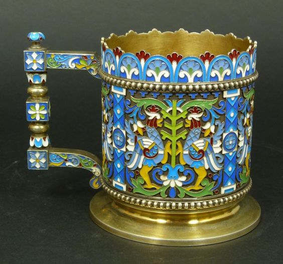 Russian silver enameled cup depicting standing cocks. Cup has gold wash interior. Holds Ivan Petrovich Klebnikov Cyrillic workmaster mark to bottom with A.A/1892 assayer mark.