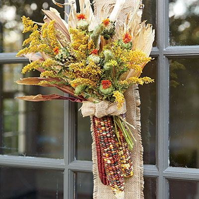 Indian Corn Badge Ribbons Of Burlap Create A Rustic Background For Iconic Fall Plants That