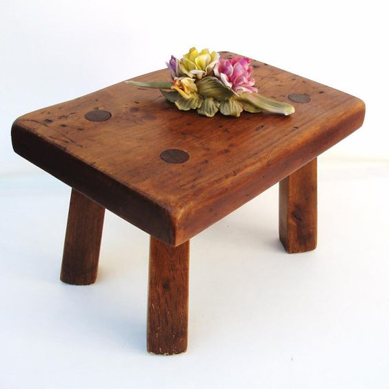 Antique Wooden Stool Solid Wood Bench Milking Stool