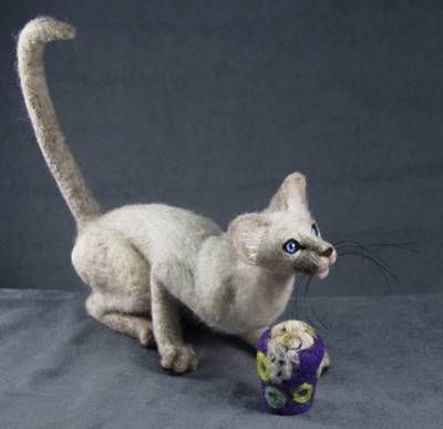NEEDLE FELTING CONTEST ENTRY-NEEDLE FELTED CAT~SIAMESE by HARLAN ...