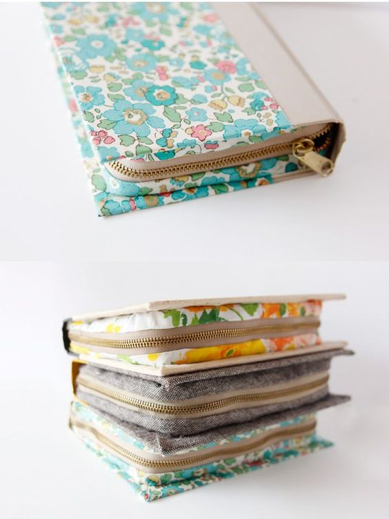 Laptop-Tasche | Alter Buchumschlag, neu bezogen und mit einem Reißverschluss versehen.