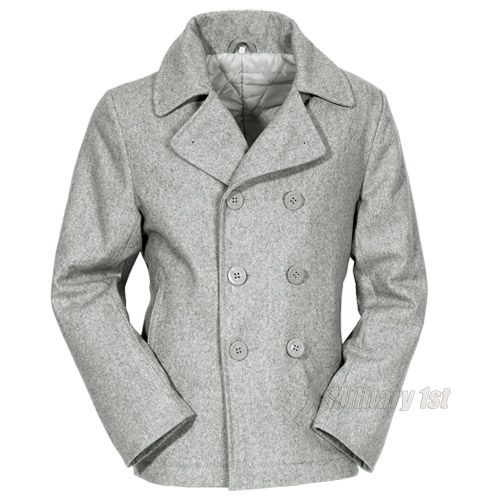 Vintage pea coat reefer mens jacket peacoat grey s-xxl | Pea coat ...