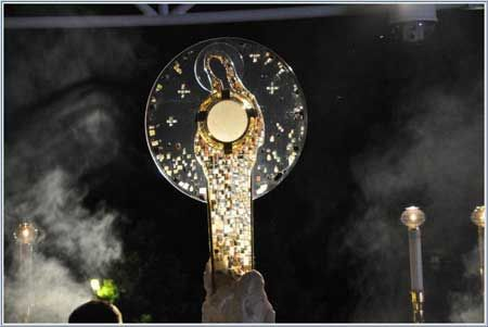 Mary was the first monstrance. Loving her will not take anything away from Jesus: it is because she put God first and humbly obeyed that we have Jesus. We ask her to teach us to love Jesus as she did.: