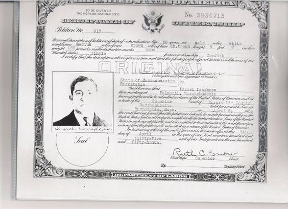 Israel Issoksons naturalization papers.