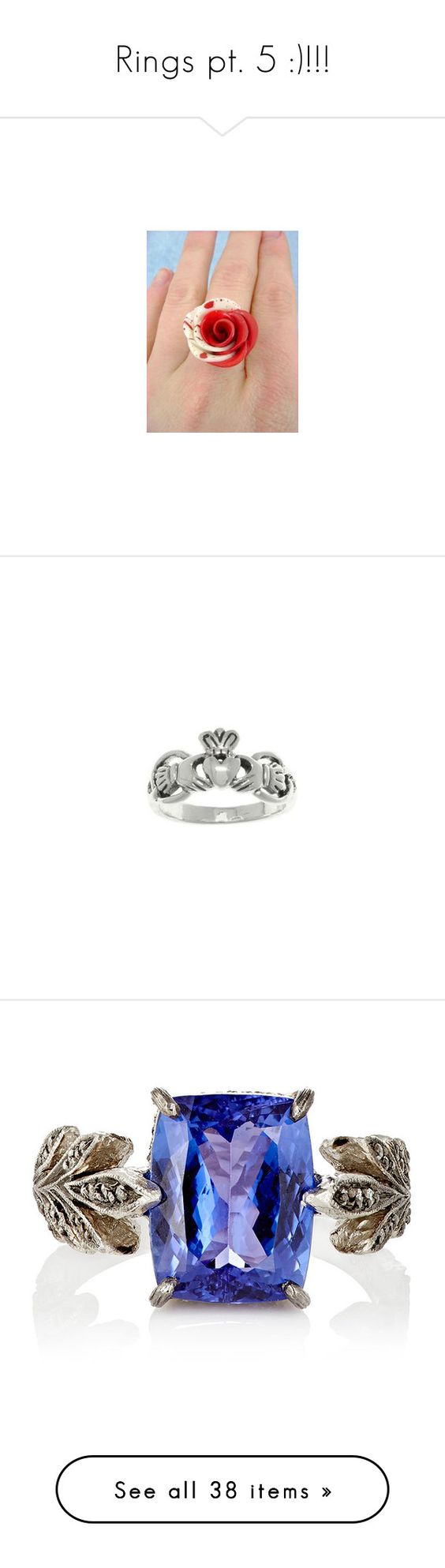 """Rings pt. 5 :)!!!"" by nerdbucket ❤ liked on Polyvore featuring jewelry, rings, red jewellery, crown jewelry, clay jewelry, white crown, handcrafted jewellery, colorless, band rings and tanzanite jewellery"