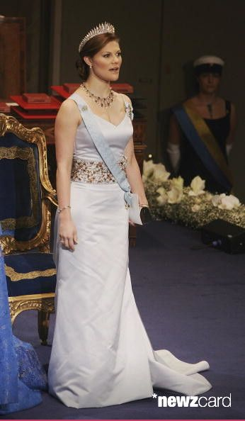 Crown Princess Victoria of Sweden arrives at the Nobel Foundation Prize 2005 at the Concert Hall on December 10, 2005 in Stockholm, Sweden. (Photo by Pascal Le Segretain/Getty Images)
