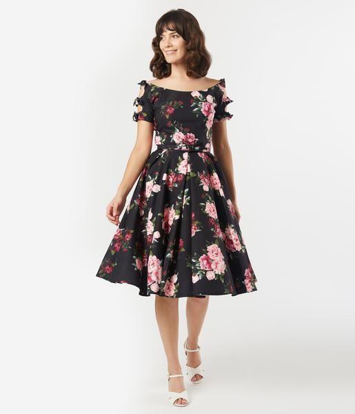 Unique Vintage 1950s Black Pink Peony Floral Selma Swing Dress In 2020 Vintage 1950s Dresses Swing Dress Unique Dresses