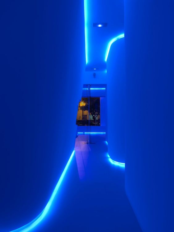 Captivating Hallway Of Modern And Futuristic Office In Blue Glowing Light | Office    Coolness | Pinterest | Modern, Building Furniture And Lights Photo
