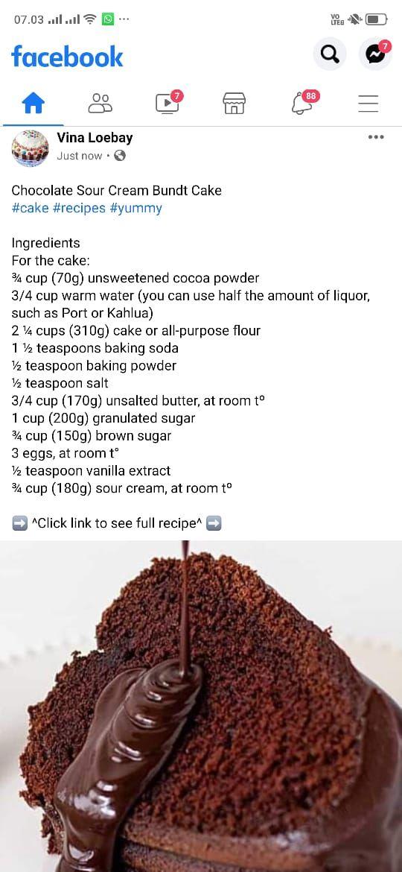 Chocolate Sour Cream Bundt Cake In 2020 Food Yummy My Best Recipe
