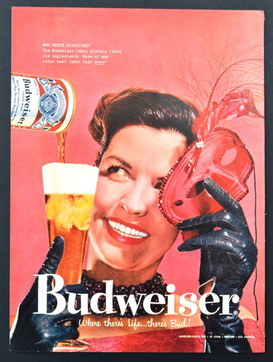 1958 Budweiser Beer Vintage Print Ad - Who Needs Disguises? Masquerade - Where there's life there's Bud!