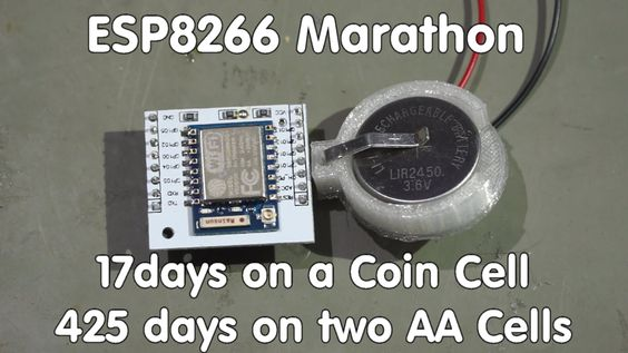 #58 ESP8266 Sensor runs 17 days on a coin cell/transmits data to sparkfu...