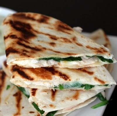 Chkn , Spinach , Goat Cheese w avocado sour cream <3