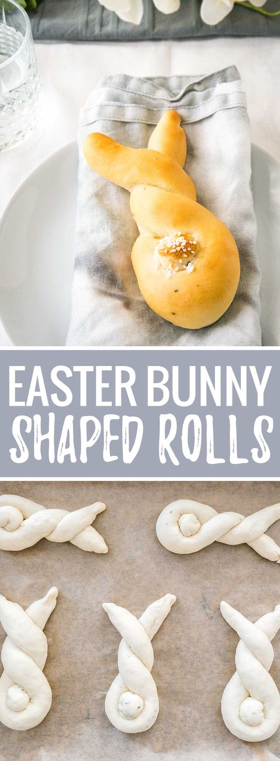 These Easter Bunny Rolls are so easy to make and perfect for brunch or dinner! Made from fool-proof homemade yeast dough, these cute bunny-shaped rolls are buttery, fluffy, and so cute with their salty tails.: