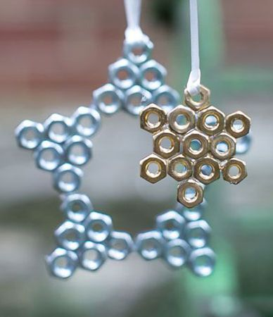 Dig through the bottom of your tool bag or pick up a pack of hex nuts the next time you make a trip to the hardware store for this undeniably This Old House-y ornament. Get the details on this and two other clever hardware-store DIY ornaments on Hello Natural.: