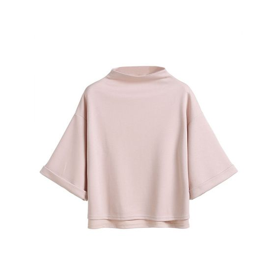 Pink Mock Neck Drop Shoulder High Low Cuffed T-shirt ($9.99) ❤ liked on Polyvore featuring tops, t-shirts, pink, high neck top, pink t shirt, half sleeve t shirts, elbow length sleeve tops and half sleeve tops