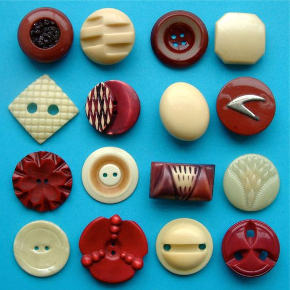 16 Vintage Art Deco Plum & Cream Celluloid Buttons | eBay